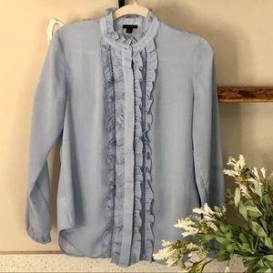 Ann Taylor ruffled button down blouse